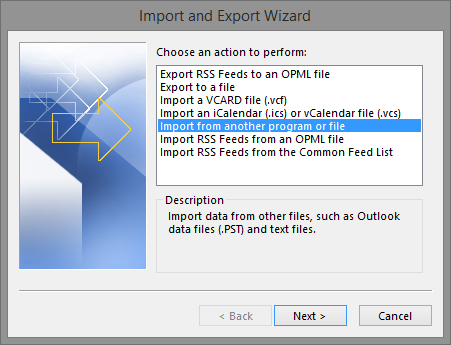 Import from another program or file