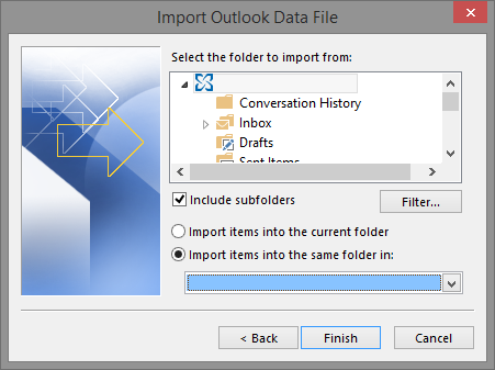 Set the options for importing items